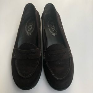 Tod's brown suede penny loafers